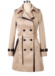 Women's Long Sleeve Double Breasted Slim Trench Coat