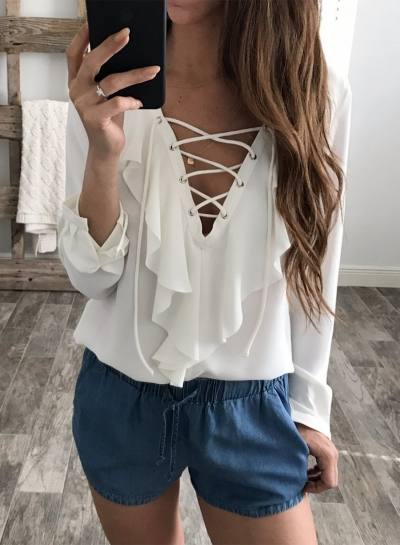 Women's Solid V Neck Lace-up Ruffle Long Sleeve Blouse