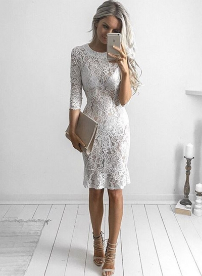 Women's Half Sleeve Lace Bodycon Club Dress