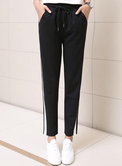 Women's Drawstring Waist Stripe Sweat Pants