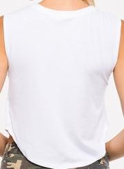 Women's Casual Eye Lip Printed Pullover Crop-Top