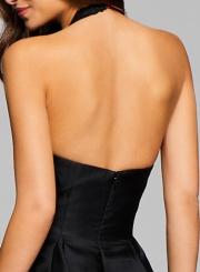 Fashion Halter V Neck Sleeveless Backless Cocktail Dress