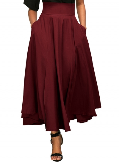 Solid High Waist Back Lace up Pleated Skirt