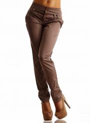 Fashion Mid Waist Solid Color Pants