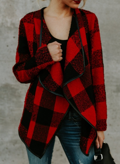 Open Front Turn-down Collar Plaid Coat STYLESIMO.com