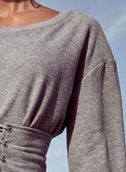 Long Sleeve Lace-up Waist Sweatshirt Tee Shirt dress