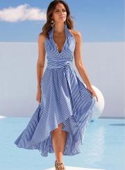 Stripe Halter Neck Sleeveless Backless High Low Dress