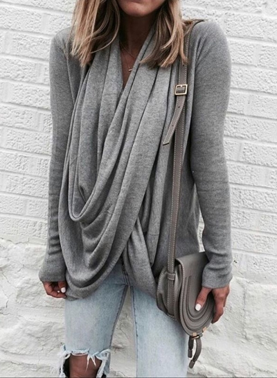 Solid Slim Fit Long Sleeve Cowl Neck Tee Shirt
