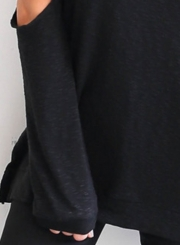 Cut out Shoulder Long Sleeve Solid Tee