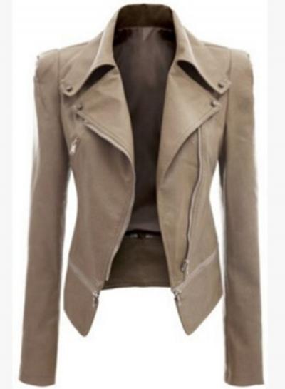 Fashion Long Sleeve PU Zip Motorcycle Jacket