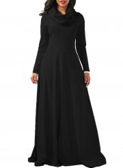 Cowl Neck Long Sleeve Loose Maxi Dress