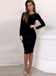 Long Sleeve Bodycon Velvet Party Dress