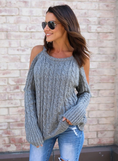 Fashion Round Neck Long Sleeve Off Shoulder Solid Color Pullover Sweater