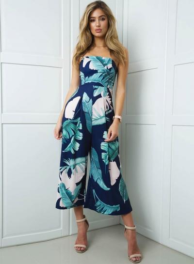 Fashion Strapless Palm Leaf Printed Wide Leg Jumpsuit