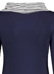 Stripe Long Sleeve Irregular Pullover Tee