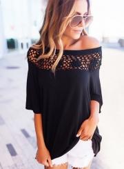Off Shoulder Half Sleeve Lace Panel Pullover Blouse