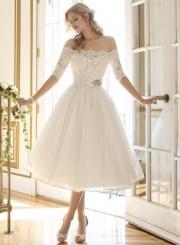 Elegant Off Shoulder Half Sleeve A-line Lace Cocktail Dress