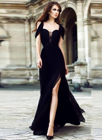 Off Shoulder Slit Maxi Chiffon Prom Dress
