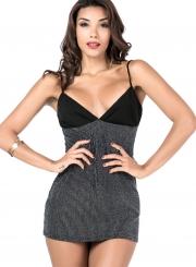 Fashion Spaghetti Strap V Neck Slim Fit Mini Dress