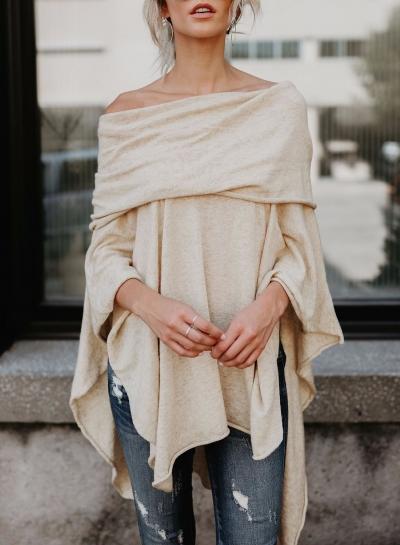 Fashion Off Sholuder Long Sleeve Solid Color Asymmetric Design Tee Shirt