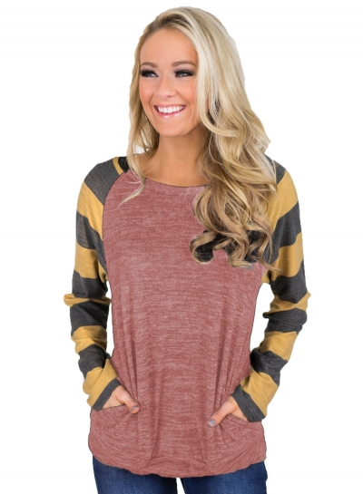Striped Long Sleeve Pullover Knit Tee