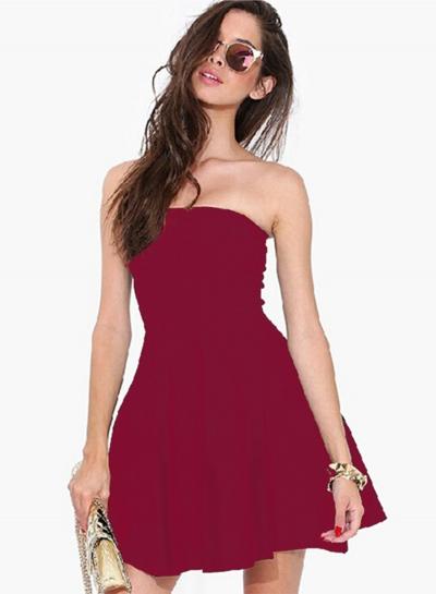 Fashion Strapless Off Shoulder Solid Color Dress