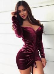 Sexy Slash Neck Long Sleeve Solid Color Bodycon Dress