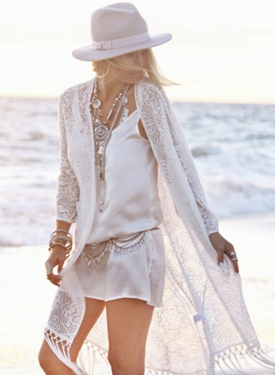 Lace Open front Beach Cover ups with Tassel
