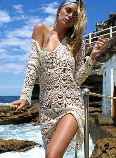 Long Sleeve Lace Crochet Hollow out Bikini Cover up