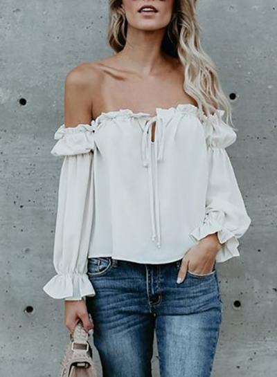 Fashion Off Shoulder Long Sleeve Ruffle Chiffon Blouse