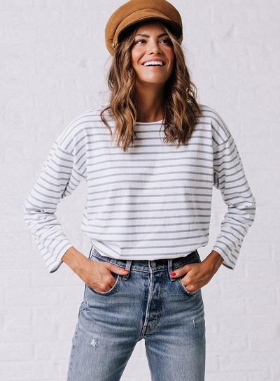 Fashion Round Neck Long Sleeve Striped Tee Shirt