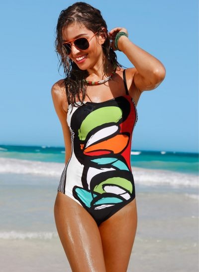 Fashion One Piece Spaghetti Strap Printing Swimsuit