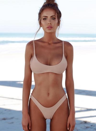 Sexy Spaghetti Strap Solid Color Two Pieces Bikini Swimwear