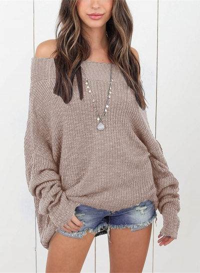 Fashion Slash Neck Long Sleeve Solid Color Pullover Sweater