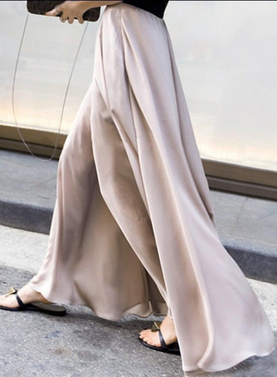 Fashion Solid High Waist Loose Fit Wide Leg Pants