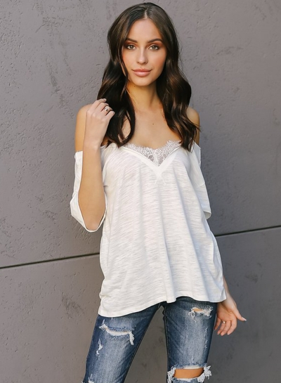 Off Shoulder Short Sleeve Lace Splicing Tee