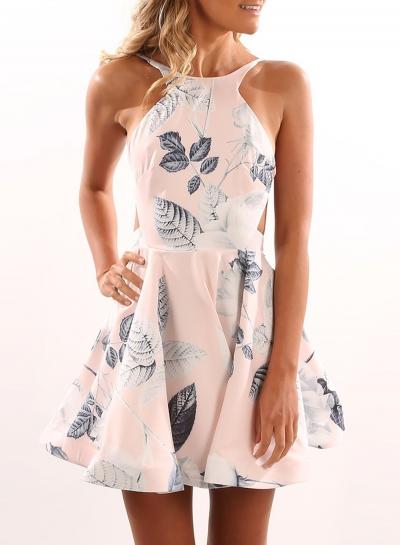 Halter Backless Floral Mini Dress