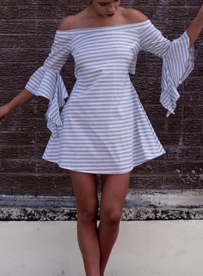 Off Shoulder Flare Sleeve Stripe Dress STYLESIMO.com