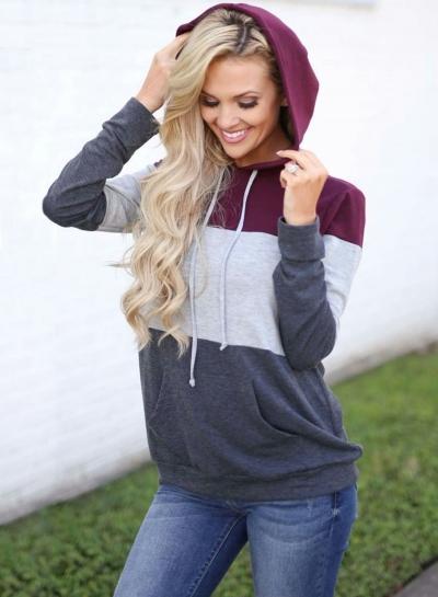 Casual Long Sleeve Color Block Pullover Hoodie