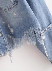 Fashion Floral Embroidery Fringed Denim Jacket