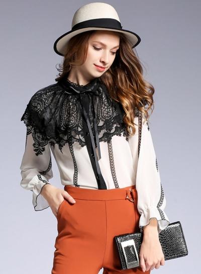 Fashion Long Sleeve Lace Button down Shirt