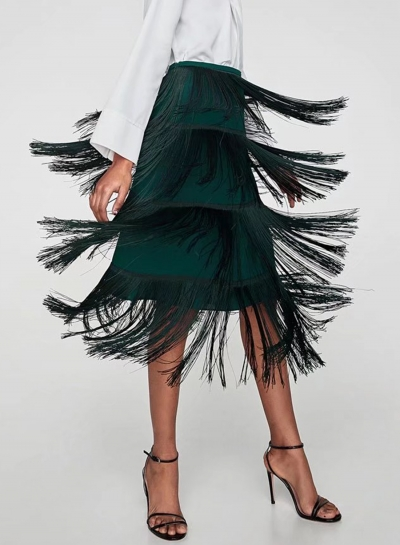 High Waist Midi Skirt with Tassel