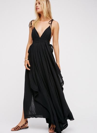 Fashion Spaghetti Strap V Neck Asymmetric Design Dress