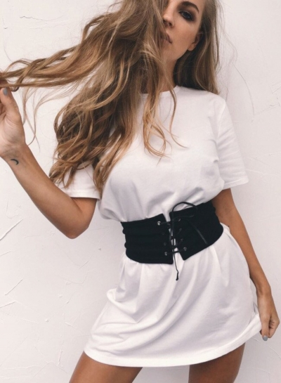 Fashion Round Neck Short Sleeve Loose Fit Tee