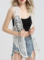Fashion Open front Lace Irregular Vest