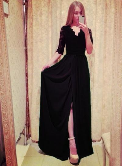 V Neck Half Sleeve Lace High Slit Maxi Dress