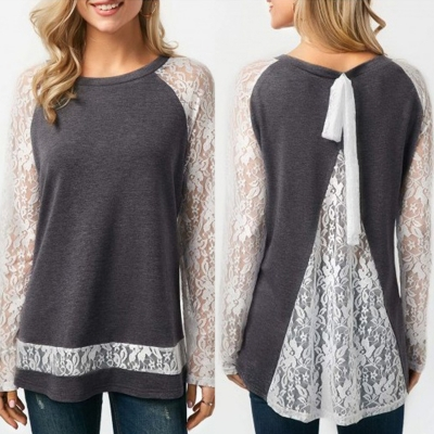 Casual Long Sleeve Lace Loose Fit Tee