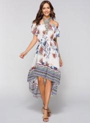 Off Shoulder Floral High Low Dress
