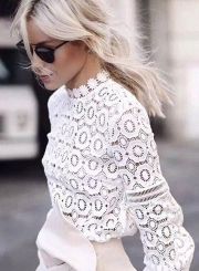 Fashion Lantern Sleeve Hollow out Lace Blouse