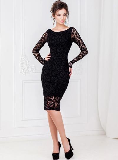 Fashion Long Sleeve Lace Slim Party Dress